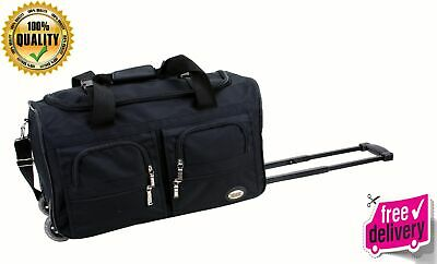 "New Duffle Bag Luggage Rolling 22"" Suitcase Carry On Wheels Travel Tote Black"
