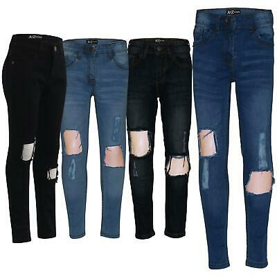 Kids Girls Skinny Jeans Denim Ripped Frayed Stretchy Fashion Pants Jeggings 5-13