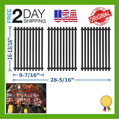 Set of 3 Porcelain Enameled Steel Cooking Grill Grates Replacement for Charbroil