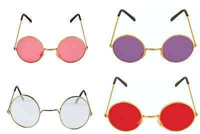 NEW UNISEX 70's 80's PINK RED ROUND FASHION GLASSES FANCY DRESS PRETY SUNGLASSES