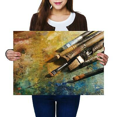 A2 | Paint Old Brushes Size A2 Poster Print Photo Art Artist Student Gift #14186