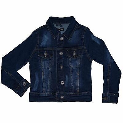 Kids Girls Denim Jacket Dark Blue Ripped Jeans Jackets Fashion Coat 3-13 Years