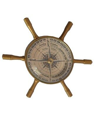 SHIP WHEEL COMPASS NAUTICAL GIFT FLOTING DIAL VINTAGE SOLID BRASS antique