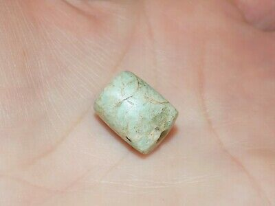 Pre-Columbian Jade Tubular Bead, Light Green Jade, Central America