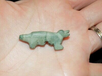 Pre-Columbian Green Stone Carved Animal Bead