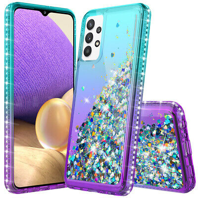 For Samsung Galaxy A10e A20 A50 A51 Bling Rubber Phone Case Cover+Tempered Glass