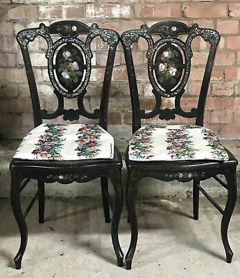Pair Of Victorian Chairs Black Lacquer Mother Of Pearl Salon Chair
