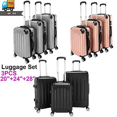 3PCS Luggage Set Travel Bag Trolley ABS Spinner Business Suitcase Hard Shell