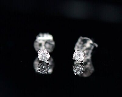 0.12ct Diamond Round Brilliant Tiny Stud Earrings Natural 14K White Gold