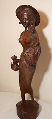 LARGE antique hand carved wood Balinese Indonesian nude lady sculpture statue