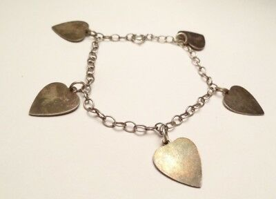 Vintage Antique Heart Love Charm Bracelet Sterling Silver 925