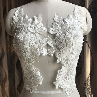 1Pair Trim Embroidery Lace Applique Sewing Motif DIY Wedding Bridal Dress Crafts