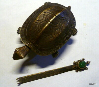 Antique Chinese Lock Hasp Brass Articulated Ornate Turtle W Jade Embellished Key