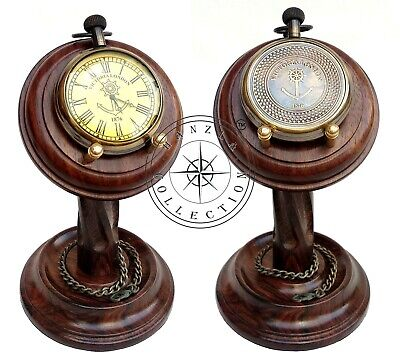 Brass Desk Clock Maritime Antique Brass Nautical Victoria London Pocket Watch