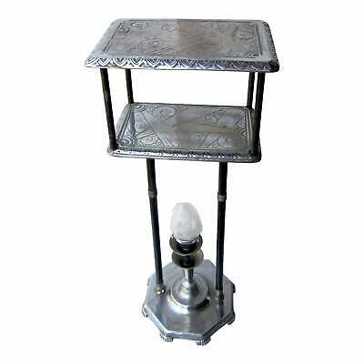 Rare Vintage Art Deco Black and Chrome Detailed 2-Tier Lighted Side Accent Table