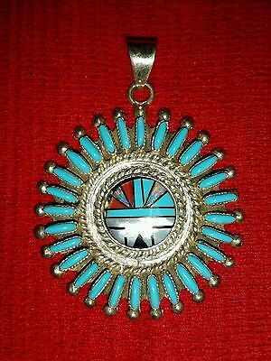 Navajo Zeta Begay Zb Sterling Turquoise Opal Petit Point Sunface Inlay Pendant
