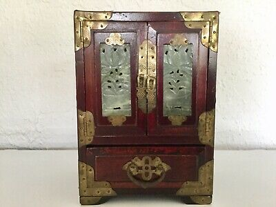 Antique Chinese Jewelry Box:Rosewood & Brass/Carved Nephrite Jade Medallions (4)