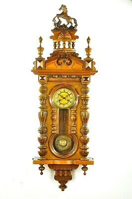 Gorgeous Antique German Mauthe Keyhole Spring Driven Wall Clock approx.1900