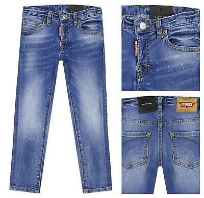 Authentic Dsquared2 Boys Blue Stretch Denim Distressed Skater Jeans. 4Yr (104Cm)