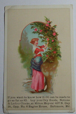 1800'S Victorian Trade Card Milton Myers Dry Goods 437 N Gay St Baltimore Md
