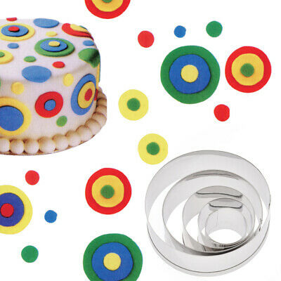 5Pcs Stainless Steel Round Mold Cookie Fondant Cake Clay Polymer Cutting Tools