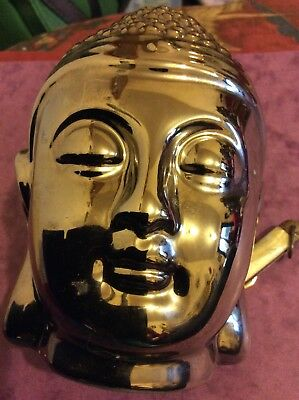 "SILVER CERAMIC HEAD OF BUDDAH 5""(13Cm)HIGH-SHINY-QUALITY-PENSIVE LOOK-INCENSE"