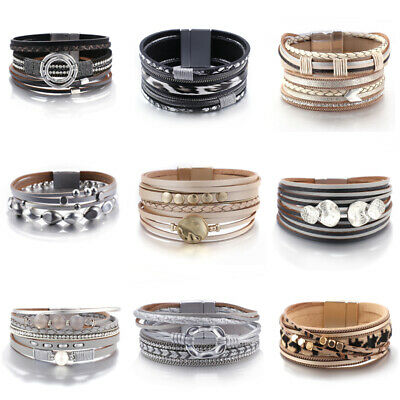 New Women Alloy Beaded Pearl Crystal Multi-layer Leather Bangle Cuff Bracelets