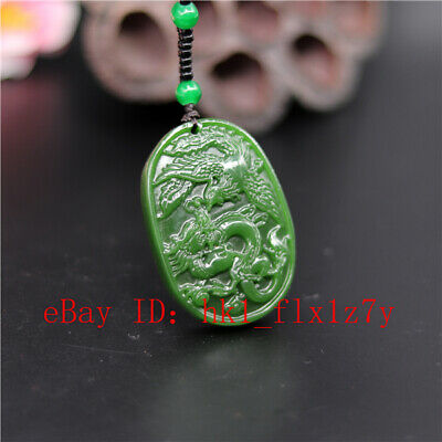 Green Dragon Phoenix Carved Jade Pendant Necklace Fashion Charm Amulet Gifts