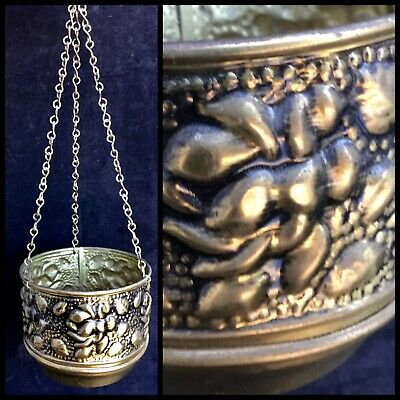 VINTAGE Lovely SOLID BRASS HANGING JARDINIERE Planter Pot ENGLAND