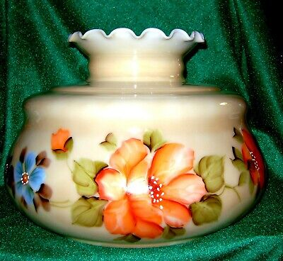 """Vtg Huge 14"""" GWTW Gone With The Wind 9.75"""" Fitter Hand Painted Glass Shade!"""