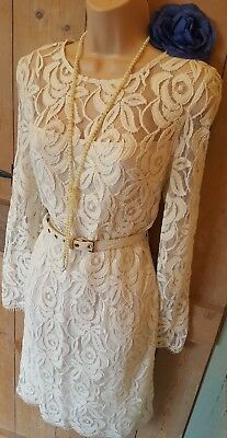 BNWT Vintage 20s 40s 50s style cream lacey flapper gatsby cruise party dress 10