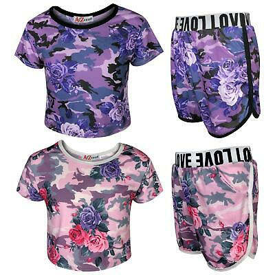Kids Girls Top & Shorts Camouflage Floral Print Fashion Summer Outfit Set 7-13 Y