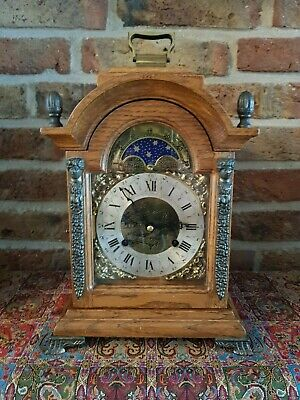 Rare Dutch  Table clock with moon phase, Double bell Chime, Oak Body