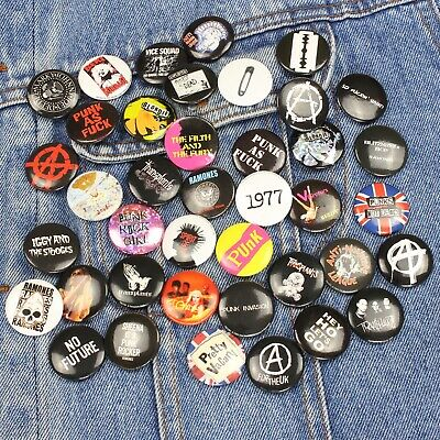 """Wholesale Lot of 40 x Punk Rock Band Icons & Logo's 25mm (1"""") Pin Badges"""