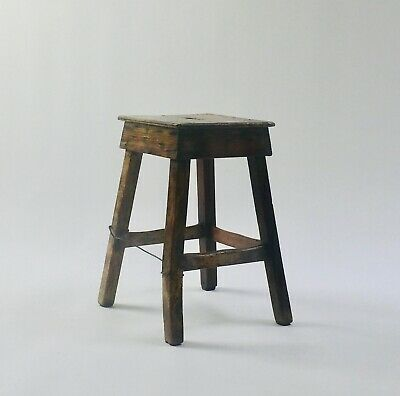 Antique primitive wooden stool- charming old repairs