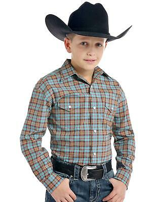 Panhandle Boys' Rough Stock By  Sutter Vintage Plaid Long Sleeve Western Shirt