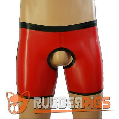 Mens Rubber cheeky chaps shorts latex clothing for men UK HAND MADE red & black