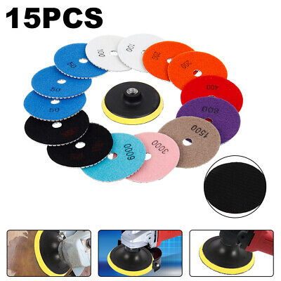 15PCS 4 Inch Wet Dry Diamond Polishing Pads For Granite Stone Concrete Marble
