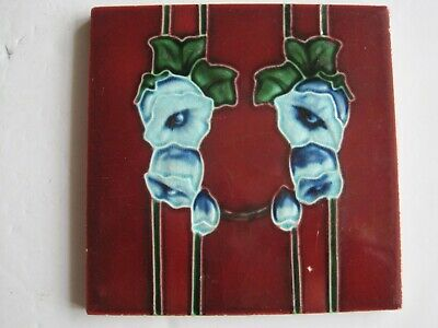 Antique Art Nouveau Burgundy With Blue Flowers Tile  - T A Simpson