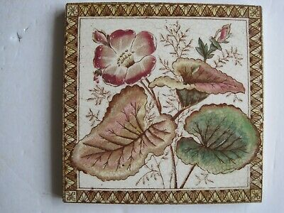 ANTIQUE VICTORIAN TRANSFER PRINT & TINT PINK FLORAL WALL TILE B No.29