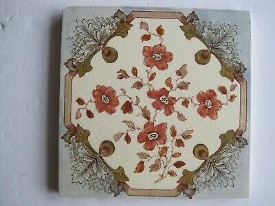 Antique Victorian Transfer Print & Tint Pink Floral Wall Tile - Wedgwood?