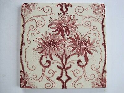 Antique Victorian Transfer Print Sherwin & Cotton Tile - Pink Chrysanthemums
