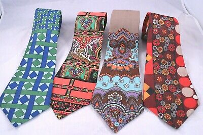 Lot 4 Vintage 1950's 1960's Mod Flower Power Tie Necktie Retro Hip Swing Bright