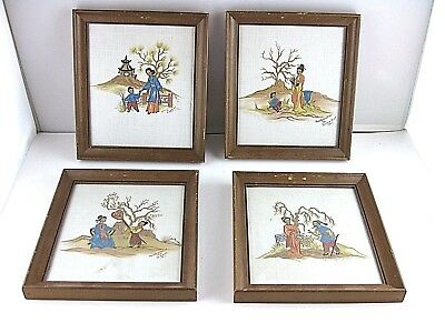 Four Detailed Oriental Paintings on Cloth by G. Gant  Framed Vintage 4pcs