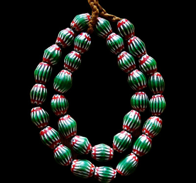 "20"" 32 Bead Antique Phoenician Green, White,Red Six Layer Chevron Glass Necklace"