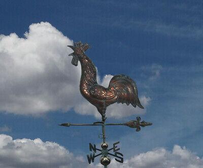 LARGE CROWING ROOSTER  Weathervane AGED COPPER PATINA FINISH Handcrafted NEW