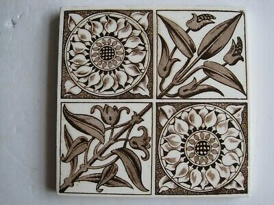 ANTIQUE VICTORIAN BROWN AESTHETIC TRANSFER PRINT TILE - WEDGWOOD? c1878-1900