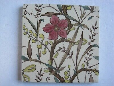 Antique Victorian Transfer Print & Tint Pink Floral Tile - Sherwin & Cotton?