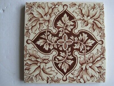 Antique Victorian Wedgwood Aesthetic Floral Transfer Print Wall Tile C1889