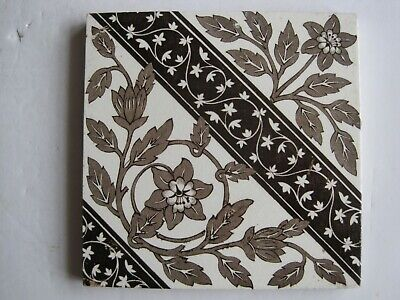 ANTIQUE VICTORIAN SHERWIN & COTTON? BROWN AESTHETIC PRINT TILE C1880-1911 No.900
